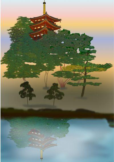 奈良まほろばかるた原画『興福寺映影』