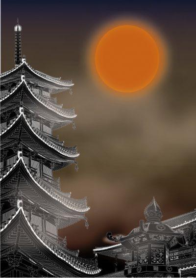 奈良まほろばかるた原画『宵月夜』