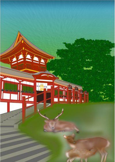 奈良まほろばかるた原画『神の鹿』