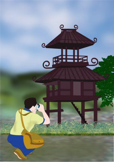 奈良まほろばかるた原画『弥生の楼閣』